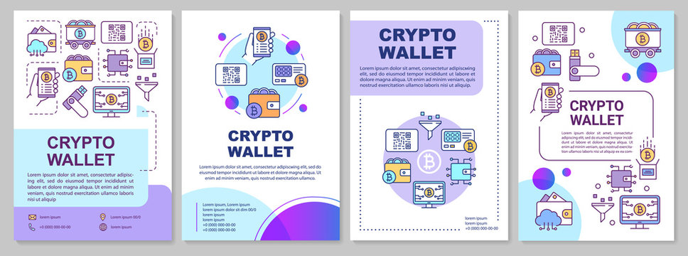 Crypto wallet brochure template layout. Bitcoin storing. Flyer, booklet, leaflet print design with linear icons. Cryptocurrency transactions. Vector page layouts for magazines, annual reports, posters