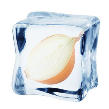 onion in ice cube, isolated on white background, clipping path, full depth of field