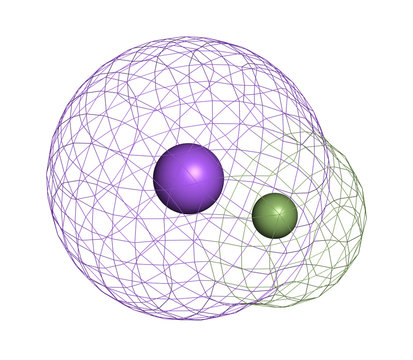 Sodium fluoride, chemical structure. 3D rendering. Atoms are represented as spheres with conventional color coding: sodium (blue), fluorine (light green).