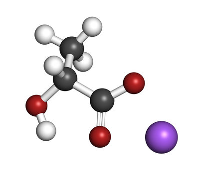Sodium lactate, chemical structure. 3D rendering. Atoms are represented as spheres with conventional color coding: hydrogen (white), carbon (grey), oxygen (red), sodium (blue).