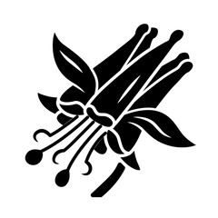 Crimson columbine glyph icon. Aquilegia formosa. Blooming wildflower. Spring blossom. Red columbine. Wild herbaceous plant. Silhouette symbol. Negative space. Vector isolated illustration
