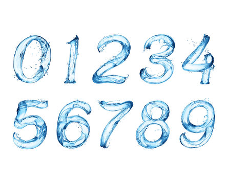 Numbers made of water splashes on a white background