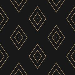 Vector golden linear rhombuses texture. Minimalist geometric seamless pattern