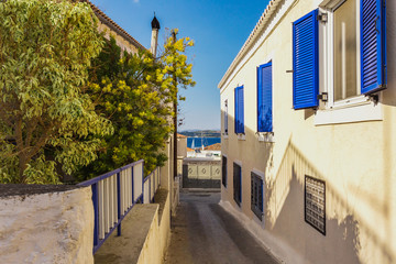 small authentic streets of Spetses island