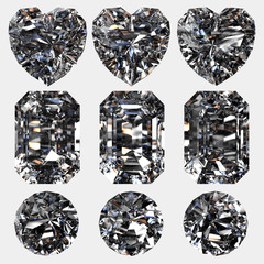 Set of diamonds isolated on grey background. 3d render-illustration