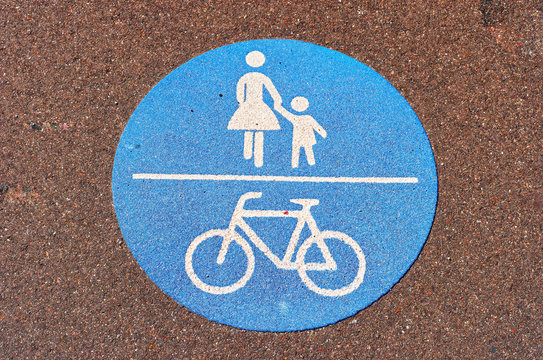 Bike path with blue colour