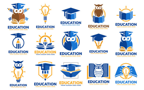 Set of education logo design templates, educational logo design template pack