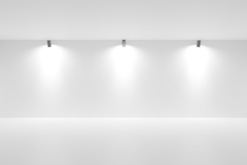 In de dag Licht, schaduw Empty white room with spotlights on the back wall - gallery or modern interior template, 3D illustration