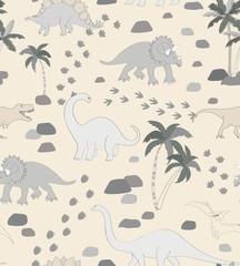 Seamless repeat pattern with a monochrome neutral dinosaur scene, palms, rocks and dino tracks