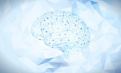 Polygoanal brain isolated on light blue BG Wall mural