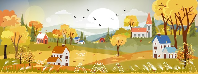 Fantasy panorama landscapes of Countryside in autumn,Panoramic of mid autumn with farm field, mountains, wild grass and leaves falling from trees in yellow foliage. Wonderland landscape in fall season Fototapete