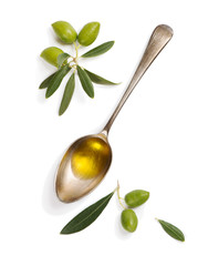 Wall Mural - Olive fruit and spoon with olive oil.