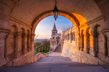 Fototapeten Budapest The north gate of the Fisherman's Bastion in Budapest - Hungary at morning