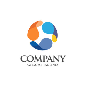 creative abstract colorful circle logo template