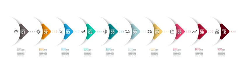 Semicircle arrow on horizontal infographics design vector graphic art.