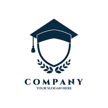 shield logo vector with graduation cap for education, school,academic,university and science, shielding symbol template