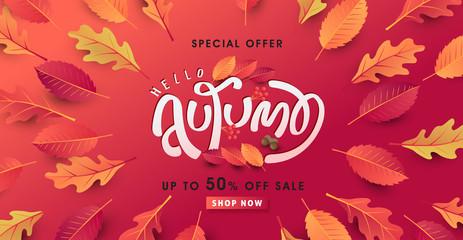 Fototapete - Autumn calligraphy. Seasonal lettering.autumn sale banner background.vector illustration