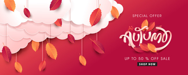 Autumn leaves background. Seasonal lettering.vector illustration.Promotion sale banner of autumn season.