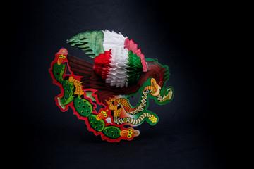 simbolos patrisos de la independencia de mexico, banderas, campanas, charro, fondo blanco, fondo negro