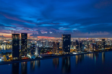 Wall Mural - Sunny Isles Beach Florida USA twilight aerial panorama