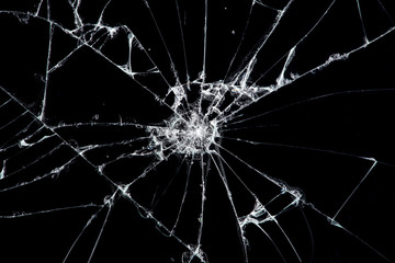 Texture broken glass with cracks. Abstract of cracked screen Smartphone from shock. Fototapete