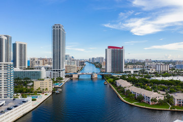 Wall Mural - Intracoastal waterway Hallandale Beach Florida aerial drone photo
