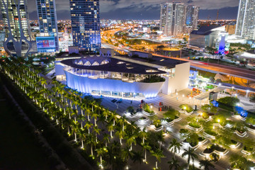 Frost Museum of Science Miami Downtown. Aerial night photo shot with a drone long exposure