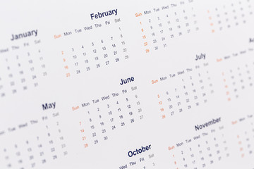 Blurred calendar abstract, background close-up image