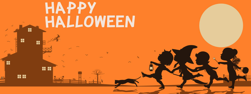 Many kids are traveling on Halloween night. There are 3 unique layers (Black, brown, yellow) on orange background. Easy to change color for each layer.