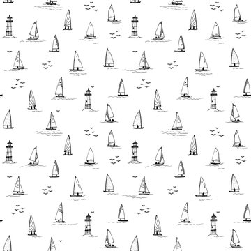 Sailboats. Seamless pattern for printing on fabric, knitwear, wrapping paper. Black picture on a white background