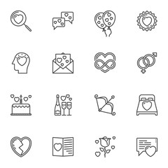 Valentines day line icons set. linear style symbols collection, outline signs pack. vector graphics. Set includes icons as love message, champagne bottle, rose flower, heart bubbles, invitation card