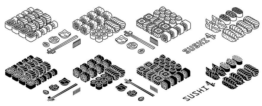 Sushi set thin line icon, isolated on white. Vector illustration.