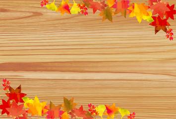 紅葉のフレームA 木目背景