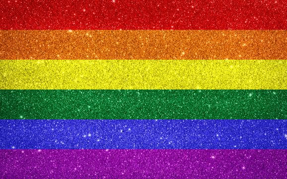Sparkling pride rainbow colored flag