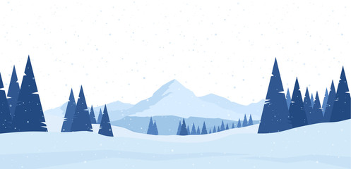 Winter snowy Mountains flat landscape with pines and hills.