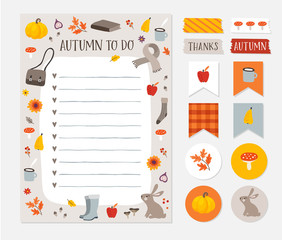 Autumn, fall wish, to do list. Colorful scrapbooking stickers, labels, tapes and gift tags. Cute stationery, planner template set. Trendy Thanksgiving holiday concept. Isolated vector objects.