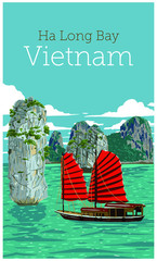 Türaufkleber Reef grun The wonderful Ha Long Bay (Descending Dragon Bay), Unesco world heritage in Vietnam. Vector illustration.