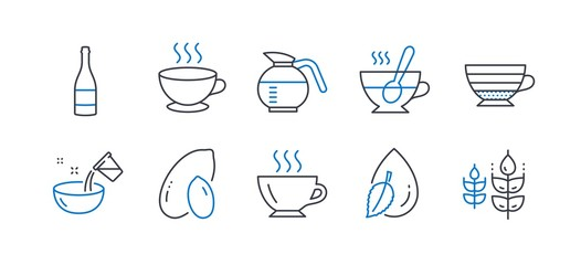 Set of Food and drink icons, such as Cappuccino, Coffee cup, Cooking water, Champagne bottle, Tea cup, Coffeepot, Peanut, Water drop, Coffee, Gluten free line icons. Hot drink, Glass. Vector