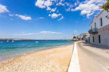 famous embankment of Spetses island, Greece