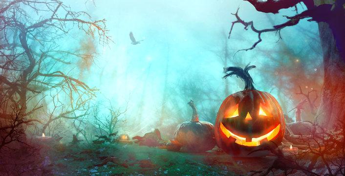 Halloween background with pumpkins