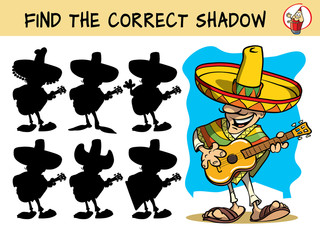 Mexican guitar player. Find the correct shadow. Educational matching game for children. Cartoon vector illustration