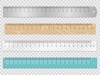 School ruler instruments. Vector white centimeter plastic and brown wooden ruler set, metric scale draftsmanship tools, geometry objects with measuring lines