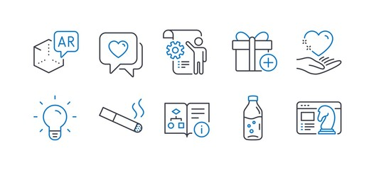 Set of Business icons, such as Add gift, Technical algorithm, Augmented reality, Smoking, Water bottle, Settings blueprint, Heart, Light bulb, Hold heart, Seo strategy line icons. Vector