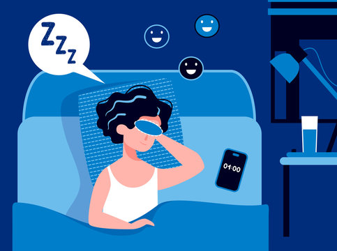 Woman sleeping in the bedroom at night with a sleeping mask and happy smile. Good healthy sleep concept. Sweet dreams. Good work of biological rhythms. Flat vector illustration. Sleeping schedule.
