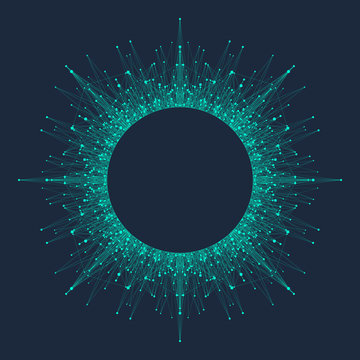 Quantum computing technology concept. Deep learning artificial intelligence. Big data algorithms visualization for business, science, technology. Waves flow, dots, lines. Quantum vector illustration