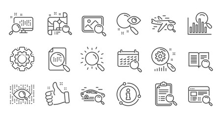 Search line icons. Indexation, Artificial intelligence and Car rental. Search images linear icon set. Quality line set. Vector