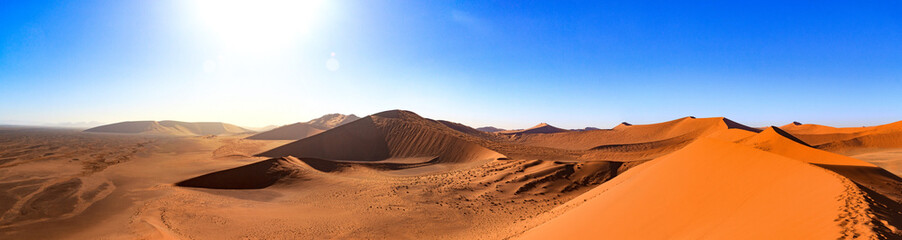 Spoed Fotobehang Oranje eclat Breathtaking panorama from the top of Dune 45, Namib desert, Namibia