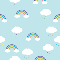 rainbow with  rain drops  seamless pattern