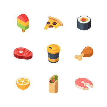 Isometric food. Sushi meal bread fruit fish vector low poly 3d website icons. Illustration sushi and meal, isometric food