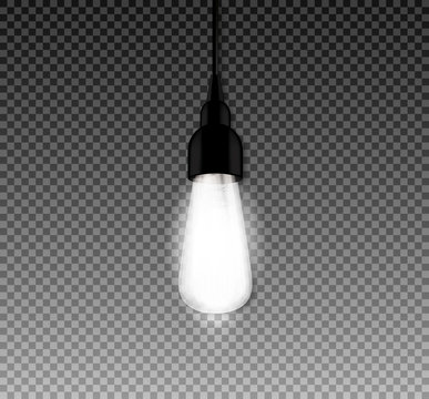 Realistic glowing lamp with retro style vintage edison. Ligt bulbs. Vector illustration